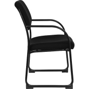 Fabric Upholstered Executive Guest and Reception Chair, Black
