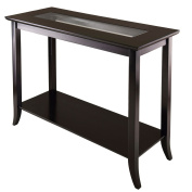 Winsome Trading 92450 Genoa Rectangular Console Table with Glass and shelf