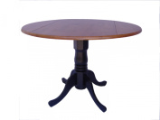 International Concepts T57-42DP Dining Essentials Solid Wood Dual Drop Leaf Table - Black - Cherry