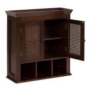Elegant Home Fashions 6018 Cane 2 Door Wall Cabinet with Cubbies