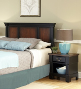 Home Styles The Aspen Collection Queen/Full Headboard and Night Stand, Rustic Cherry/Black