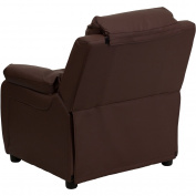 Deluxe Heavily Padded Contemporary Leather Kid's Recliner with Storage Arms