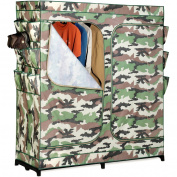 Honey-Can-Do WRD-01518 150cm Wide Double Door Storage Closet with Shoe Organiser, Camouflage