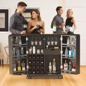 Modern Marketing KF40001ABK Alexandria Expandable Bar Cabinet in Black Finish