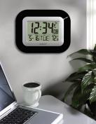 La Crosse Technology Atomic Digital Wall Clock with Temperature Display, Black
