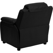 Flash Furniture Kids' Recliner with Storage Arms, Black Leather