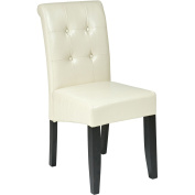 Office Star Products MET88CM Metro Parsons Dining Chair with Button Back - Cream Eco Leather