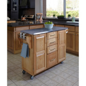 Home Styles Large Kitchen Cart, Natural Finish with Stainless-Steel Top