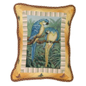 123 Creations Parrot 100pct Wool Petit-Point Pillow with Fabric Trimmed