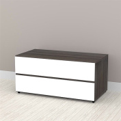 Allure 90cm Storage Cabinet in White and Ebony with 2 Drawers