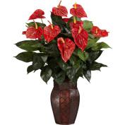 Anthurium with Vase Silk Plant
