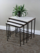 4D Concepts 605809 3 piece nesting tables with Travertine tops- Antique Tuscany Metal- Travertine