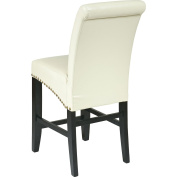 Office Star Products MET8724CM 24 in. Metro Parsons Barstool with Nail Heads - Cream Eco Leather