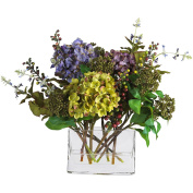 Nearly Natural 4670 Mixed Hydrangea with Rectangle Vase Silk Flower Arrangement