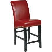 Office Star Products MET8724RD 24 in. Metro Parsons Barstool with Nail Heads - Crimson Red Eco Leather