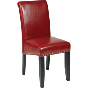 Office Star Products MET87RD Metro Parsons Dining Chair with Nail Heads - Crimson Red Eco Leather