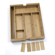 Lipper Bamboo Adjustable Expandable Drawer Organiser with Six Dividers