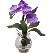Nearly Natural 1276-PP Mini Vanda with Fluted Vase Silk Flower Arrangement