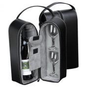 Bey-Berk Wine Caddy with Two Glasses, Stopper/Opener, Black Leather Case