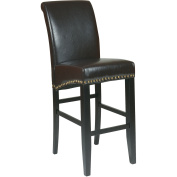 Office Star Products MET8730ES 30 in. Metro Parsons Barstool with Nail Heads - Espresso Eco Leather