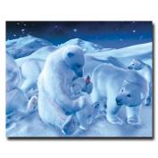 "Trademark Fine Art ""Polar Bear Sitting with Cub and Bottle"" Giclee Canvas Art"