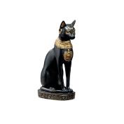Design Toscano Egyptian Cat Goddess Bastet with Earrings Statue in Matte Black