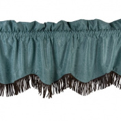 HiEnd Accents Cheyenne Fringed Valance in Turquoise