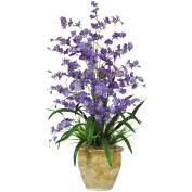 Triple Dancing Lady Silk Flower Arrangement, Purple