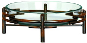 UMA Enterprises Urban Trends Sculptured Glass Bowl with Metal Stand