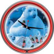Coca-Cola 36cm Neon Wall Clock, Polar Bears with Coke Bottle & Cubs