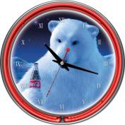 Coca-Cola 36cm Neon Wall Clock, Polar Bear with Coke Bottle