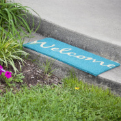 Entryways Door Mats Cursive Welcome 43cm . x 70cm . Non Slip Coir Door Mat Teal P1044
