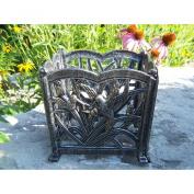 Oakland Living Hummingbird 20.3cm . Square Flower Pot - Cast Aluminium