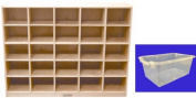 ECR4Kids Birch 25 Cubby Tray Cabinet with Scoop Front Clear Colour Bins