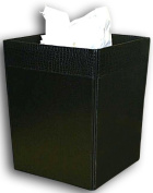 Dacasso A2203 Crocodile-Embossed Leather Square Waste Basket