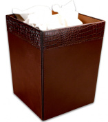 Dacasso A2003 Brown Crocodile Embossed Leather Waste Basket