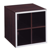 Quadrant 4-Section Storage Cube with Chrome Trim, Espresso