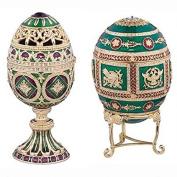 Design Toscano QF987081 the Emerald Collection Faberge-Style Enamelled Redonka and Minishka Egg Set