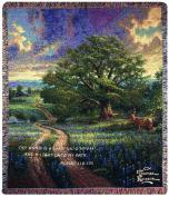 Manual Thomas Kinkade 130cm x 150cm Tapestry Throw with Verse, Country Living