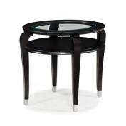 Magnussen Harper Oval Ebonized Black Cherry Wood and Glass End Table