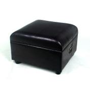 International Caravan Leather Storage Ottoman Bench - Black