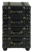 UMA Enterprises Urban Trends Wood Leather Side Chest with Dark Brown Tone