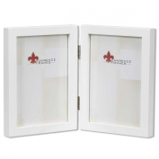 Lawrence Frames 755857D Lawrence Frames 5x7 Hinged Double White Wood Picture Frame - Gallery Collection