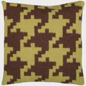 50cm Espresso Brown and Avocado Green Houndstooth Decorative Throw Pillow