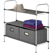 Whitmor 3-Tier Shelves with 2 Collapsible Drawers, Grey