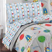 Space Rocket Ultra Soft Microfiber Twin Comforter Bedding Set, Grey Multi