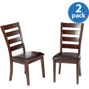 Imagio Home by Intercon Kailua Ladderback Side Chair with Cushion Seat, Set of 2, Distressed Raisin