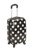 Rockland Luggage Reno 50cm ABS Hard-Sided Spinning Carry-On Luggage, Black Dot