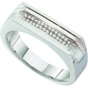 0.10 Carat (ctw) 10k White Gold Brilliant White Diamond Men's Hip Hop Micro Pave Band Ring
