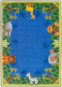 Joy Carpets 1579B Jungle Friends 3 ft.10 in. x 5 ft.4 in. 100 Pct. STAINMASTER Nylon Machine Tufted- Cut Pile Just for Kids Rug